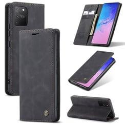 CaseMe - Case for Samsung Galaxy S10 Lite - PU Leather Wallet Case Card Slot Kickstand Magnetic Closure - Black