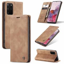 CaseMe - Case for Samsung Galaxy S10 Lite - PU Leather Wallet Case Card Slot Kickstand Magnetic Closure - Braun