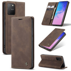 CaseMe - Case for Samsung Galaxy S10 Lite - PU Leather Wallet Case Card Slot Kickstand Magnetic Closure - Coffee Brown