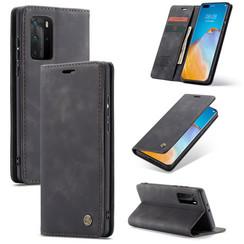 CaseMe - Case for Huawei P40 Pro Plus - PU Leather Wallet Case Card Slot Kickstand Magnetic Closure - Black