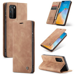CaseMe - Case for Huawei P40 Pro Plus - PU Leather Wallet Case Card Slot Kickstand Magnetic Closure - Braun