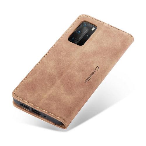 CaseMe CaseMe - Huawei P40 Pro Plus hoesje - Wallet Book Case - Magneetsluiting - Bruin