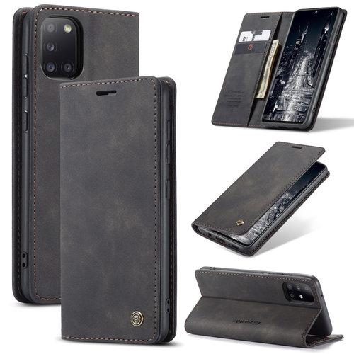 CaseMe CaseMe - Samsung Galaxy A31 hoesje - Wallet Book Case - Magneetsluiting - Zwart