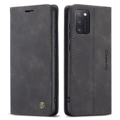 CaseMe - Case for Samsung Galaxy A41 - PU Leather Wallet Case Card Slot Kickstand Magnetic Closure - Black