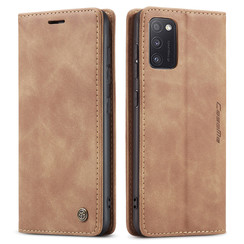 CaseMe - Case for Samsung Galaxy A41 - PU Leather Wallet Case Card Slot Kickstand Magnetic Closure - Braun