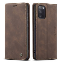 CaseMe - Case for Samsung Galaxy A41 - PU Leather Wallet Case Card Slot Kickstand Magnetic Closure - Coffee Brown