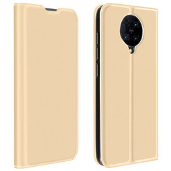 Dux Ducis - Case for Xiaomi Poco F2 Pro - Ultra Slim PU Leather Flip Folio Case with Magnetic Closure - Gold