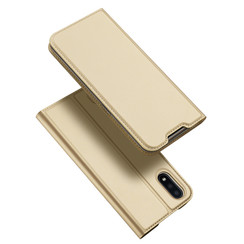 Dux Ducis - Case for Samsung Galaxy M01 - Ultra Slim PU Leather Flip Folio Case with Magnetic Closure - Gold