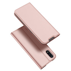 Dux Ducis - Case for Samsung Galaxy M01 - Ultra Slim PU Leather Flip Folio Case with Magnetic Closure - Pink