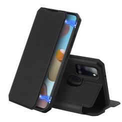 Dux Ducis - Case for Samsung Galaxy A21s - Skin X Series Magnetic Flip Case with Card Slot - Black