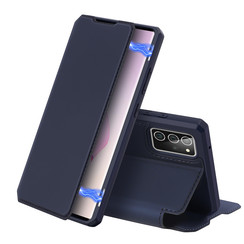 Dux Ducis - Case for Samsung Galaxy Note 20 - Skin X Series Magnetic Flip Case with Card Slot - Navy Blue
