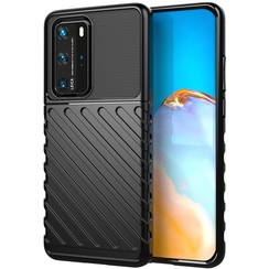 Huawei P40 Pro case - Shockproof Armor TPU Back Cover - Black