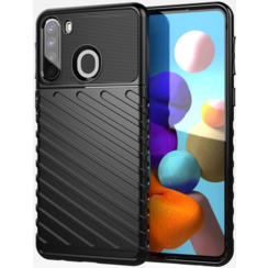 Samsung Galaxy A21s case - Shockproof Armor TPU Back Cover - Black
