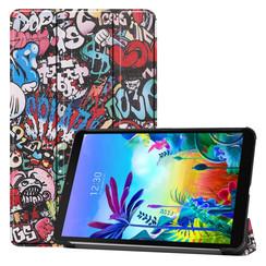 Case2go - Case for LG G Pad 5 10.1 - Slim Tri-Fold Book Case - Lightweight Smart Cover - Graffiti