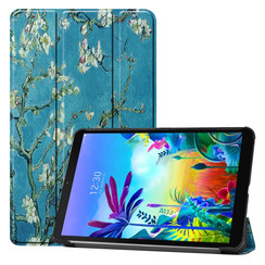 Case2go - Case for LG G Pad 5 10.1 - Slim Tri-Fold Book Case - Lightweight Smart Cover - White bloom