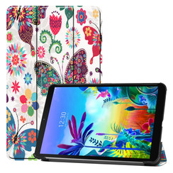 Case2go - Case for LG G Pad 5 10.1 - Slim Tri-Fold Book Case - Lightweight Smart Cover - Butterflies