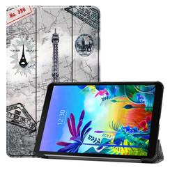 Case2go - Case for LG G Pad 5 10.1 - Slim Tri-Fold Book Case - Lightweight Smart Cover - Eiffeltower