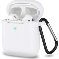 Apple Airpods hoesje - Siliconen beschermhoes met opdruk - 3.0 mm - Donker Blauw