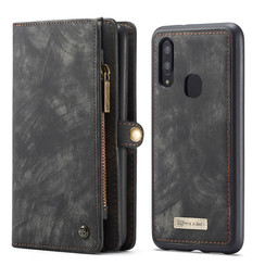 CaseMe - Case for Samsung Galaxy A40 - Wallet Case Whiteh Card Holder, Magnetic Detachable Cover - Black