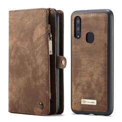 CaseMe - Case for Samsung Galaxy A40 - Wallet Case Whiteh Card Holder, Magnetic Detachable Cover - Brown
