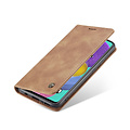 CaseMe CaseMe - Samsung Galaxy A51 hoesje - Wallet Book Case met Ritssluiting - Bruin