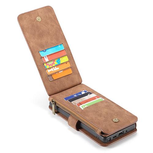 CaseMe CaseMe - Samsung Galaxy Note 10 hoesje - Wallet Book Case met Ritssluiting - Bruin