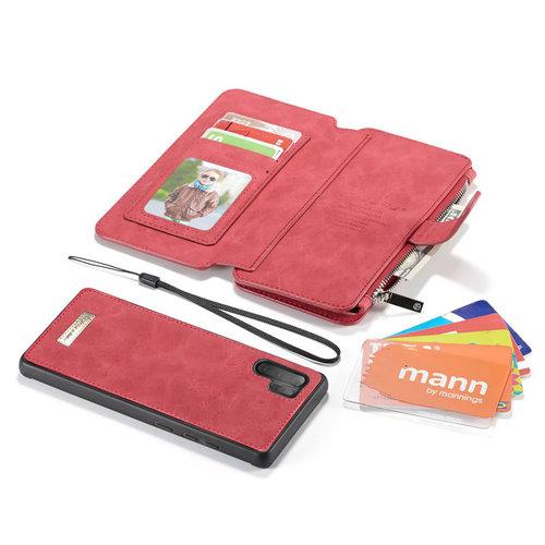 CaseMe CaseMe - Samsung Galaxy Note 10 Plus hoesje - Wallet Book Case met Ritssluiting - Rood