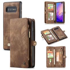 CaseMe - Samusng Galaxy S10 hoesje - 2 in 1 Wallet Book Case - Bruin