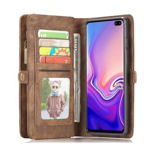 CaseMe CaseMe - Samusng Galaxy S10 hoesje - 2 in 1 Wallet Book Case - Bruin
