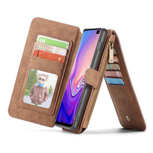 CaseMe CaseMe - Samsung Galaxy S10 hoesje - Wallet Book Case met Ritssluiting - Bruin