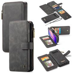 CaseMe - Case for Samsung Galaxy S10 Plus - Wallet Case Whiteh Cardslots and Detachable Flip Zipper Case - Black