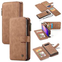 CaseMe - Case for Samsung Galaxy S10 Plus - Wallet Case Whiteh Cardslots and Detachable Flip Zipper Case - Brown