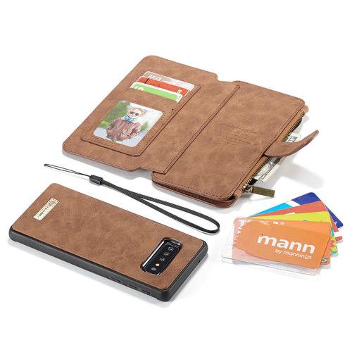 CaseMe CaseMe - Samsung Galaxy S10 Plus hoesje - Wallet Book Case met Ritssluiting - Bruin