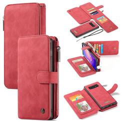 CaseMe - Case for Samsung Galaxy S10 Plus - Wallet Case Whiteh Cardslots and Detachable Flip Zipper Case - Red