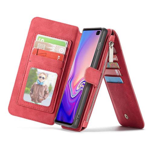 CaseMe CaseMe - Samsung Galaxy S10 Plus hoesje - Wallet Book Case met Ritssluiting - Rood