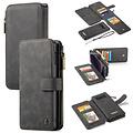 CaseMe CaseMe - Samsung Galaxy S10e hoesje - Wallet Book Case met Ritssluiting - Zwart