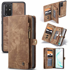 CaseMe - Case for Samsung Galaxy S20 Plus - Wallet Case Whiteh Card Holder, Magnetic Detachable Cover - Brown