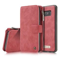 CaseMe - Case for Samsung Galaxy S8 Plus - Wallet Case Whiteh Cardslots and Detachable Flip Zipper Case - Red
