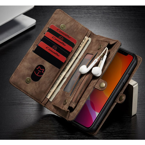 CaseMe CaseMe - iPhone 11 hoesje - 2 in 1 Wallet Book Case - Bruin