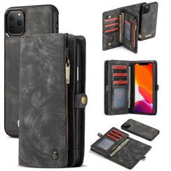 CaseMe - Case for iPhone 11 Pro - Wallet Case Whiteh Card Holder, Magnetic Detachable Cover - Black