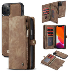 CaseMe - Case for iPhone 11 Pro - Wallet Case Whiteh Card Holder, Magnetic Detachable Cover - Brown