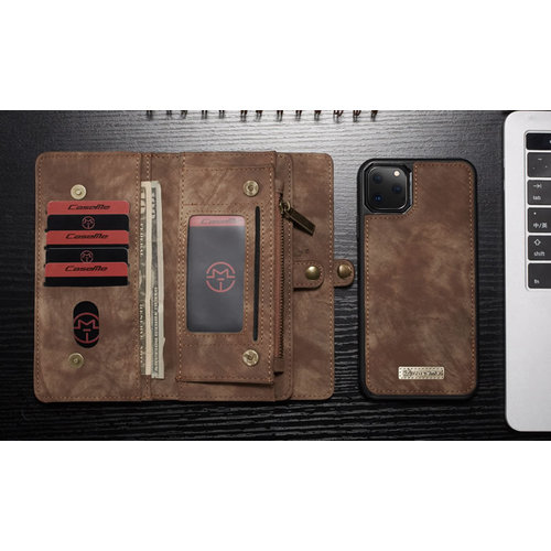 CaseMe CaseMe - iPhone 11 Pro hoesje - 2 in 1 Wallet Book Case - Bruin