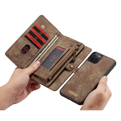 CaseMe CaseMe - iPhone 11 Pro Max Hoesje - 2 in 1 Wallet Book Case - Bruin