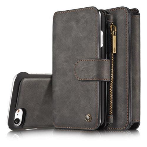 CaseMe CaseMe - iPhone 7/8/SE 2020 hoesje - Wallet Book Case met Ritssluiting - Zwart