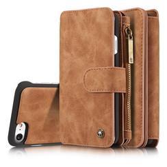 CaseMe - iPhone 7/8/SE 2020 hoesje - Wallet Book Case met Ritssluiting - Bruin