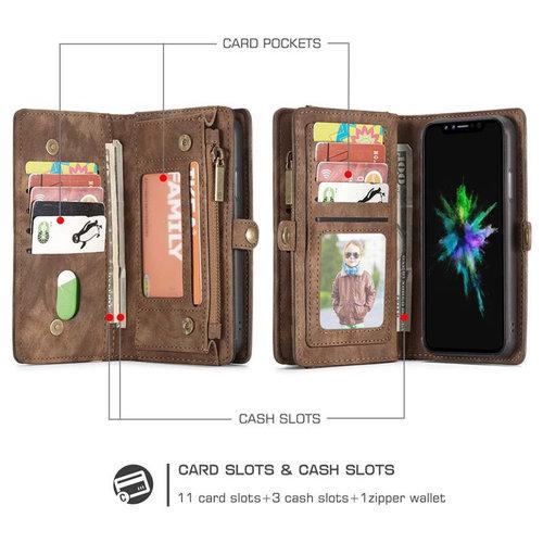 CaseMe CaseMe - iPhone X/Xs hoesje - 2 in 1 Wallet Book Case - Zwart