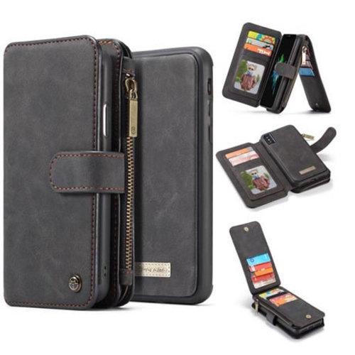 CaseMe CaseMe - iPhone X/Xs hoesje - Wallet Book Case met Ritssluiting - Zwart