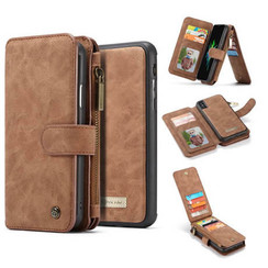 CaseMe - iPhone X/Xs hoesje - Wallet Book Case met Ritssluiting - Bruin