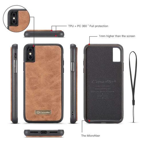 CaseMe CaseMe - iPhone X/Xs hoesje - Wallet Book Case met Ritssluiting - Bruin