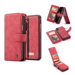 CaseMe - iPhone X/Xs hoesje - Wallet Book Case met Ritssluiting - Rood